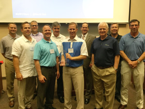 Members of North Risk Partners (NRP) leadership gather with West Bend representatives after being presented the company's President's Award, Wednesday, June 10, in Minneapolis. From left: NRP partner Mark Hayford, NRP COO Chris Meidt, West Bend Vice President Commercial Underwriting Rob Jacques, NRP partner Steve Thelen, NRP CEO and partner Pat McCann, NRP partner Barry Quernemoen, West Bend Director of Sales David Nycz and West Bend MN Regional Sales Managers Roger Brovold, Randy Paa and Matt Jakubowski.